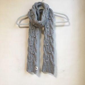 Abercrombie Gray Knit Pom Pom Wool Scarf